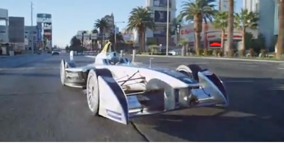 Formula E car races down Las Vegas Strip