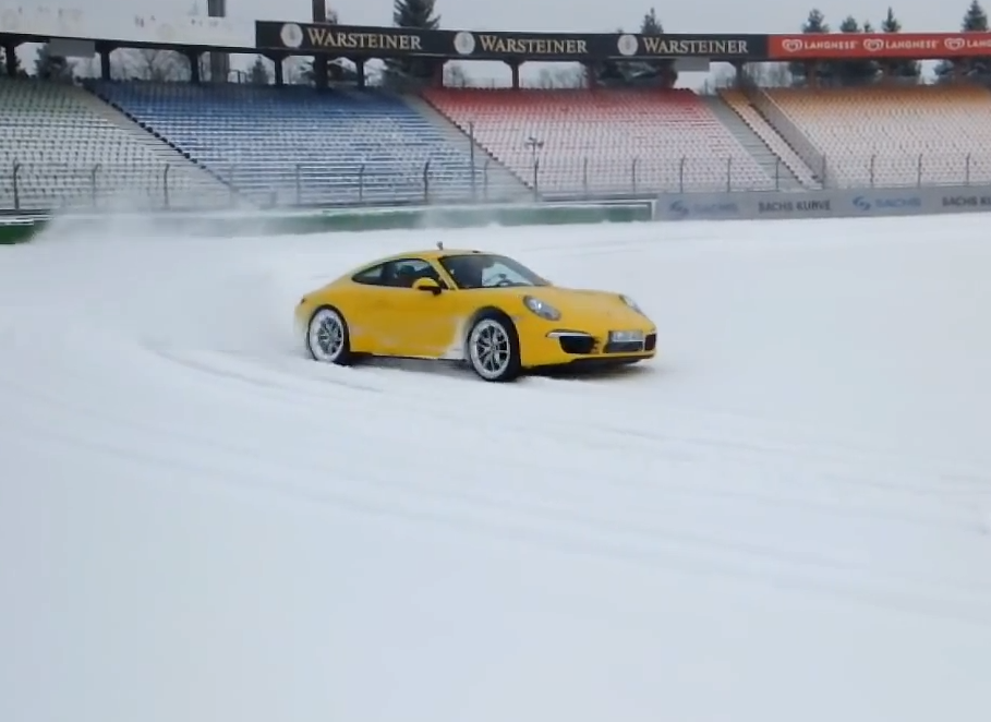 Snow Fun! Yellow Porsche Carrera 911 S and 4S Drift In The Snow! (VIDEO)