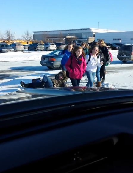 Dad Watches Kids Fall On Ice Over and Over Again From The Comfort Of His Car! (HILARIOUS)