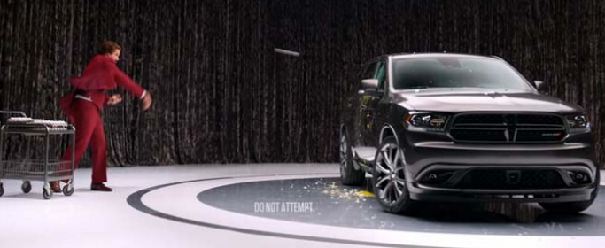 Ron Burgundy Throws Eggs At The Dodge Durango (VIDEO)