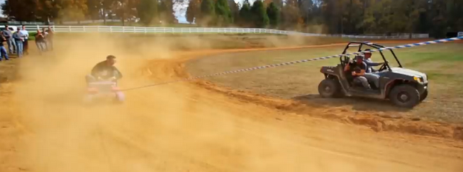 Stock Car Racer Dale Earnhardt Jr Get's Dragged Around The Roads In Barbie Car (VIDEO)