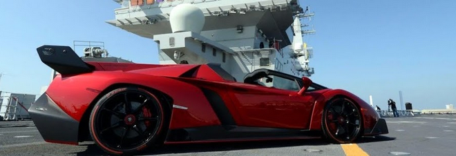 Lamborghini Veneno Roadster Makes Public Debut…On A Massive Italian Aircraft Carrier