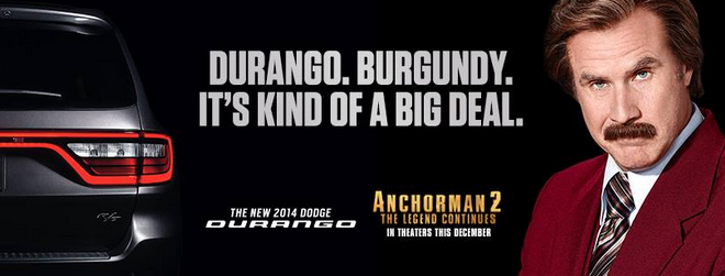 Ron Burgundy: Top Car Salesman Of The Year! The LOL Ads are actually selling Durango's!