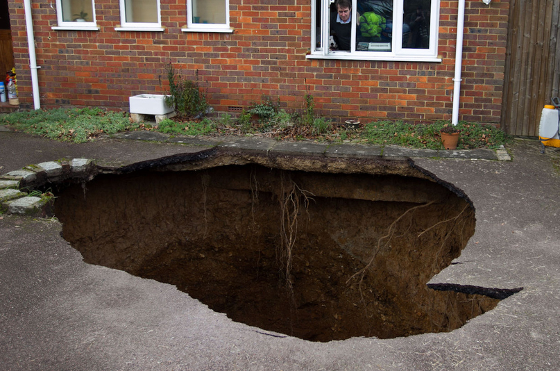 A Sinkhole Swallowed A Car In A Buckinghamshire Driveway