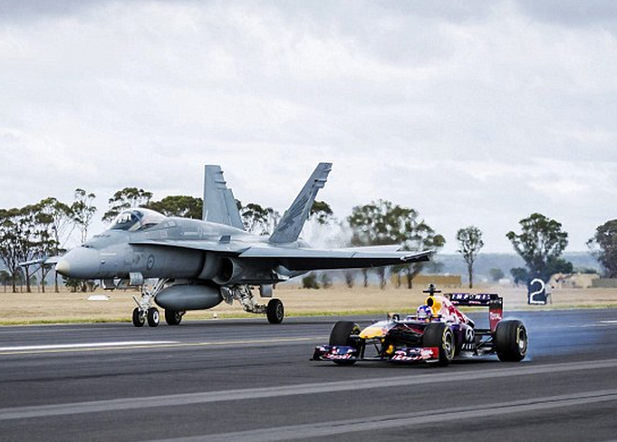 What Happens When An F-1 Race Car Takes On An F-18 Fighter Jet?