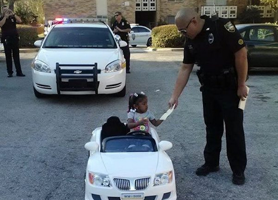Little Girl Driving Battery-Operated Car Gets Pulled Over And Given $4 Ticket By Cop