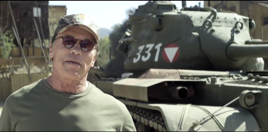 crush a tank with Arnold Schwarzenegger