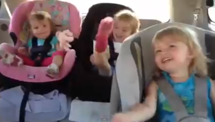 Baby wakes up dancing in car