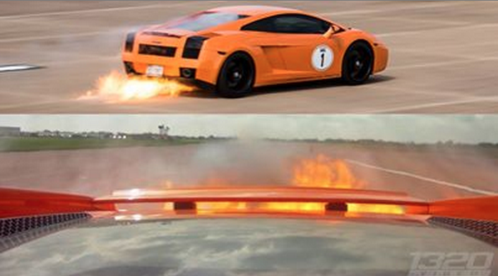 Lambo on FIRE at 200 MPH!!!