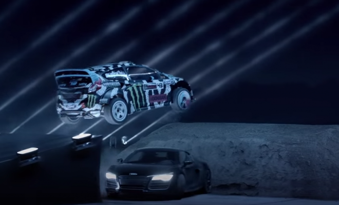 ken-block-jumps-audi-r8 -dark