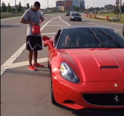 Evan Turner's Ferrari Runs out of Gas on the Highway