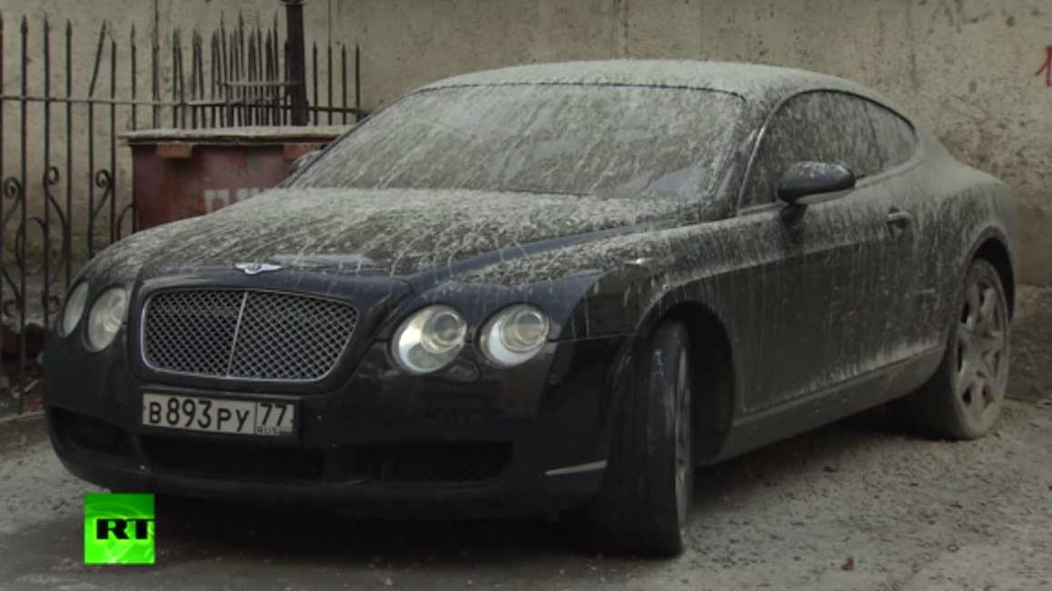 Russian Bentley covered in cement
